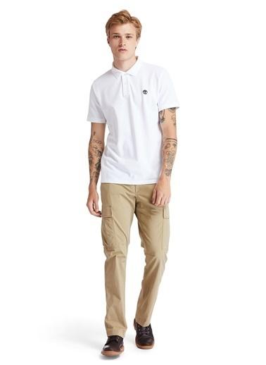 Timberland Timberland Erkek Baskılı Polo Yaka Beyaz T-Shirt Beyaz